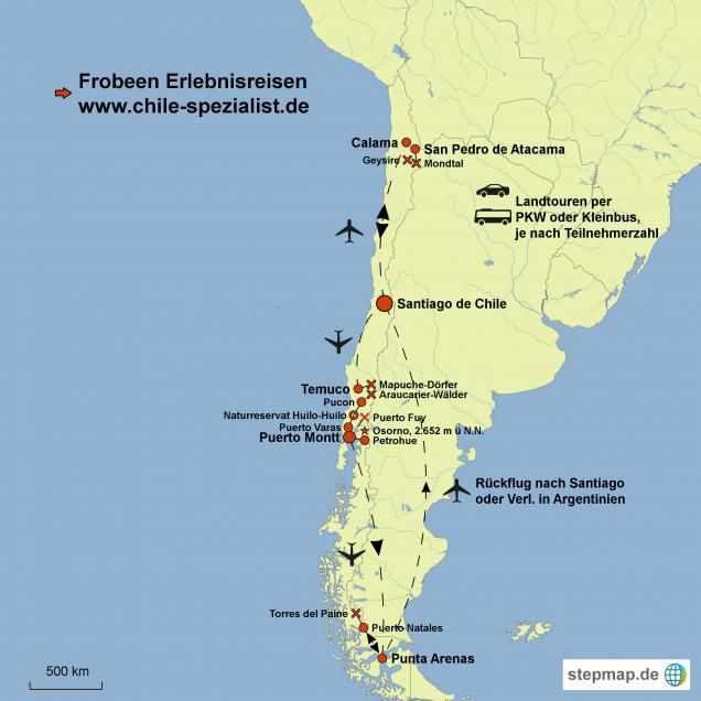 Atacama Wüste Karte.Höhepunkte Chiles